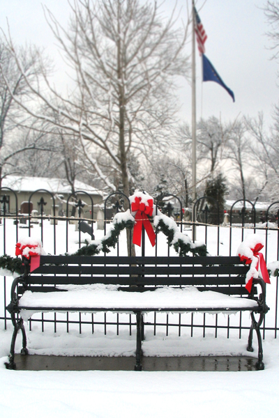 Winter Bench at Cemetery
