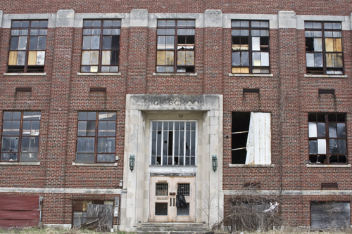 Abandoned High School Front