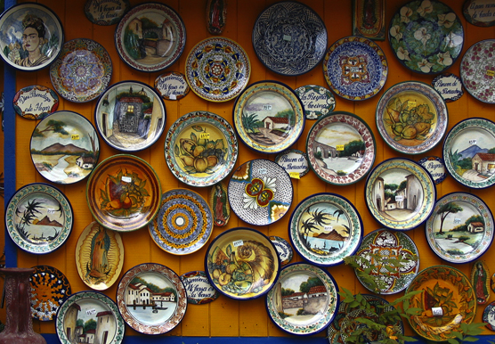 Colorful Plates on a Wall